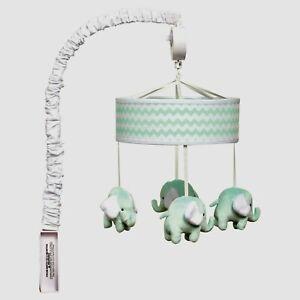 Retired Trend Lab Mint Chevron Musical Baby Crib Mobile Plush Elephants Box