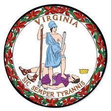 "Virginia State Seal car bumper sticker window decal 4"" x 4"""