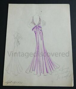 1931 Vintage Fashion Design Original Art Color Drawing Woman Beautiful Pink Gown