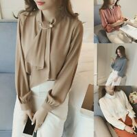 Women Ladies Casual Long Sleeve Tops Blouse Formal OL Shirt With Fake Necktie US