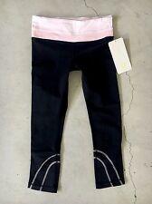 RARE Lululemon Inspire Run Crop Black Run Light Pink Stripe Mesh Pace Pants 4