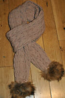 NEW BEIGE WOOLEN SCARF WITH TWO AUTHENTIC RACCOON FUR POM POMS.UK STOCK.FREEPOST
