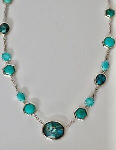 Ippolita Rock Candy Necklace Turquoise Amethyst Station Necklace New $1995 Sale