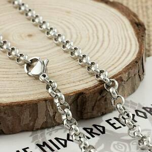 Stainless Steel Rolo Chain Necklace 3, 4 or 5mm Thickness