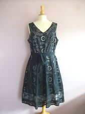 Per Una Size 18 Black Embroidered Cotton over White Sleeveless Fit + Flare Dress