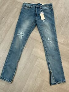 MNML tapered distressed denim jeans with ankle zips, Size 31, BNWT