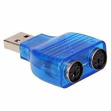 USB to PS/2 Converter Adapter for Keyboard Mouse - Blue