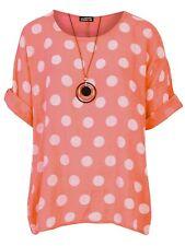 NEW Womens Italian Linen Polka Dot Ladies Cotton Necklace Summer Shirt TOP