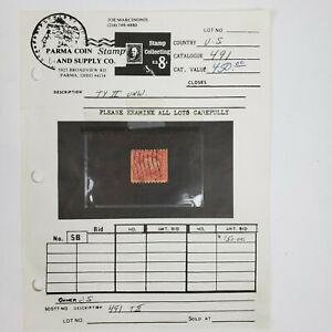 Rare US Stamp #491 Washington 1916 2ç Carmine Type II Used UNW. CV $250 - $525