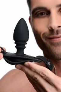 Male Cock Ring Harness with Silicone Anal Butt Plug Sex Toy For Men
