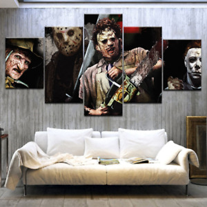 Horror Saws Movie Characters Canvas Print Poster Wall Art Decor No Frame 5Pieces