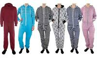 New Unisex Ladies Mens Print Stripes Hooded Aztec Playsuits All In One Jumpsuit