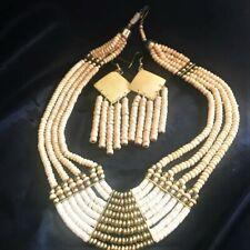 Bovine Bone Bead Multi-Strand Necklace Pierced Long Dangle Earring Vtg Set NOS