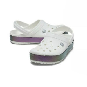 Crocs Iridescent Band Clog Metallic White Womens 9 Mens 7 New With Tag
