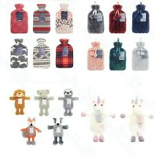 Hot Water Bottle & Cover Large 2L Natural Rubber Knitted Fleece 1L Novelty Kid