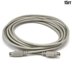 15FT PS/2 6 Pin Mini DIN MDIN6 Male to Male Keyboard Mouse Data Cable Cord Beige