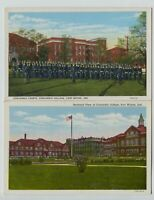 2 1920's-40's era Concordia College Fort Wayne Indiana Postcards Cadet Drills