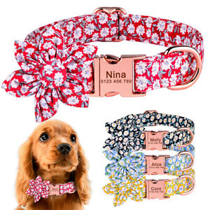 Personalised Flower Dog Collar Small Medium Large Girl Puppy Collar Engraved Tag
