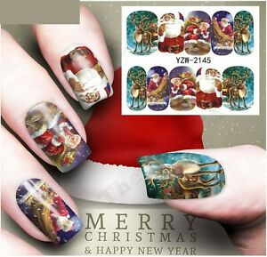 Nail Art Water Decals Transfers Stickers Christmas 2021 Santa, Full Cover wrap