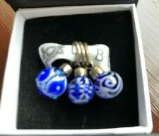 Trollbeads THREE Blue Ornaments hanging beads - boxed