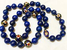 VINTAGE CHINESE CLOISONNE, 10mm LAPIS BEADS NECKLACE