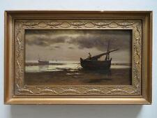 Thomas Hume (1840-1916) SIGNED British Antique Oil Painting FISHERMAN AT SUNSET