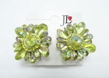 Gorgeous New Pair of Green Rhinestone Clip On Earrings nwt #E1114