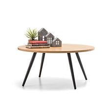 Retro Scandinavian Danish Design ROUND Coffee Table w Timber Top and Steel Legs