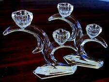 Pair Crystal Art Deco Style Double Candlesticks DUISKE Glass - Holders Hvy Clear