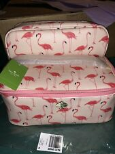 NEW KATE SPADE LARGE COLIN FLAMINGO SHELL PINK COSMETIC MAKEUP/TRAVEL CASE SET