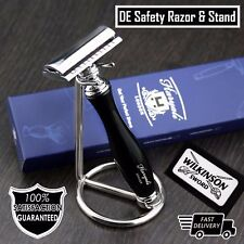 Double edge Safety Razor chrome Plated shaving Stand Free Blades Gift for Him