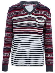 Sacai Men V-neck Cotton Pullover Sweater 3(L)