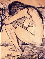 "Nude Woman of Sorrow 8.5x11"" Photo Print Naked Female Sketch Vincent Van Gogh"