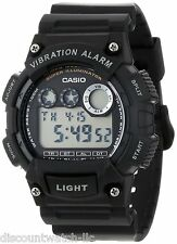 Casio W735H-1A Mens BLACK Resin Digital Sports Watch Alarm Stopwatch 100M NEW