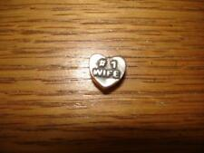 KAY JEWELERS CHARMED MEMORIES #1 WIFE HEART CHARM STERLING SILVER 925 ITALY