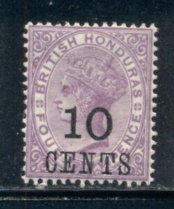 BRITISH HONDURAS 30 SG40 MH 1888-89 10c on 4p vio QVIC Wmk Crown CA Cat$28