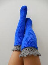 crochet gray trim blue stockings adult size 5-6