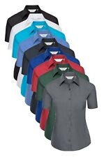 Ladies BLACK GREY GREEN RED BLUE Short Sleeve Easy Care Poplin Shirt Blouse