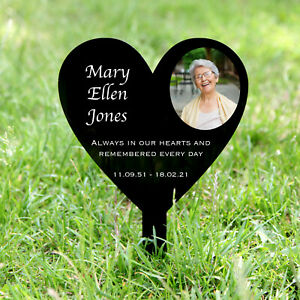 Personalised Heart Memorial Grave Marker, Your Photo, Headstone, Plaque, Acrylic