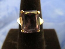 VINTAGE 14K YELLOW GOLD SYNTHETIC ALEXANDRITE RING     SIZE 6.25    (MARKED 14K)