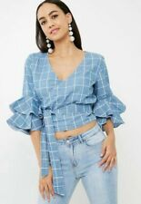 Missguided Check Wrap Frill Sleeve Trending Denim Blouse Size 6 BNWT