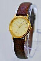 Ladies 1999 BULOVA Classic Gold Tone Dress/Casual Watch, Brown Leather, Quartz