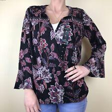 Lucky BRAND Womens Black Floral Boho Peasant Top Blouse Shirt L