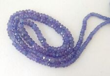 """Natural Tanzanite Gemstone 3-4mm Rondelle Faceted Jewelry Beads 5"""" Half Strand"""