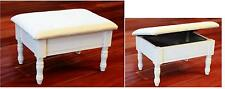 Queen Anne Style White Finish Wood Footstool w/ Storage