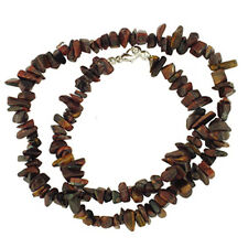 "RED TIGEREYE 18"" CHIP BEAD NECKLACE SS CLASP tiger eye"