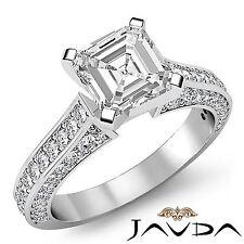 Clásico Asscher Anillo Compromiso Corte Diamante GIA i SI1 Pureza 14k Oro Blanco