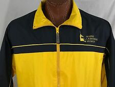 Maine Lighthouse Museum Yellow Zippered Jacket Outerwear Windbreaker L Large
