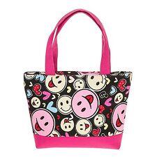 Equilibrio pequeñas tejidas Bolso de mano-Negro y Rosa Con SMILEY Caras