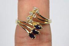 14k Yellow Gold Sapphire & Diamond Cocktail Ring .35 tcw Size 7